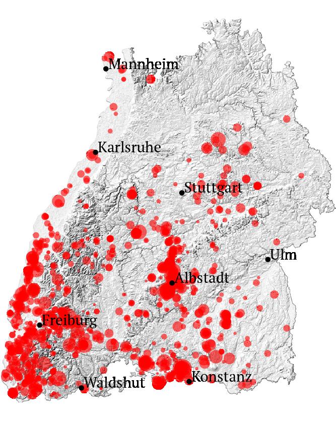 Alle Erdbeben mit mindestens Stärke 2 in Baden-Württemberg seit 2010. Quelle: LGRB BW